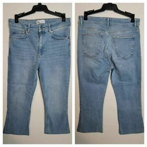 Cropped Light Wash Whiskered Faded Denim 6